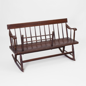 American Faux Rosewood Grained Spindle-Back Rocking Bench