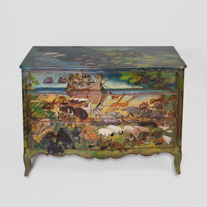 Nancy Whorf (1930-2009): Serpentine-Fronted Painted Wood Chest