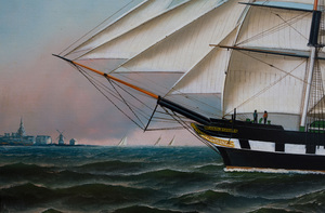 Attributed to Antonio Jacobsen (1850-1921): The Ship Frederick Gebhard off the Coast of Holland