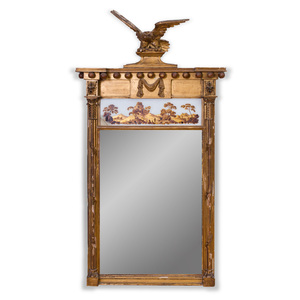 Federal Giltwood and Verre Églomisé Pier Mirror