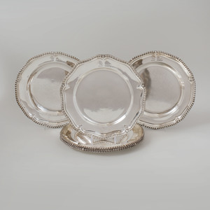 Assembled Set of Six George II and George III Crested Silver Second Course Plates