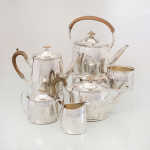Stone Monogrammed Sterling Silver Six Piece Tea & Coffee Service