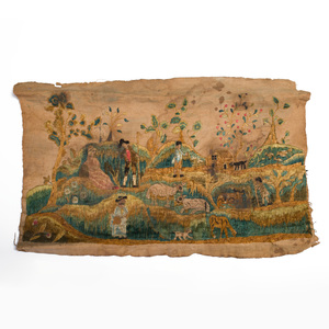 Anglo-American Cotton and Silk Needlework Fragment