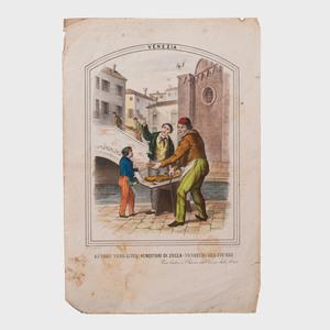 Italian School: Prospetto esterno del Battistero di Pisa; and Venditori di Zuca