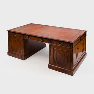 George III Style Mahogany Two Pedestal Desk, of Recent Manufacture