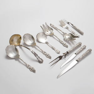 Set of Four Reed & Barton Silver Flatware Serving Pieces in 'Les Six Fleurs' Pattern, and a Pair of Reed & Barton Silver Servers in the 'Francis I' Pattern