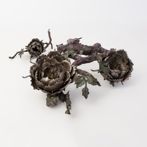 Japanese Bronze Okimono in the Form of Flowering Peony Branch