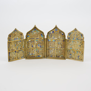 Russian Enameled Brass Folding Icon