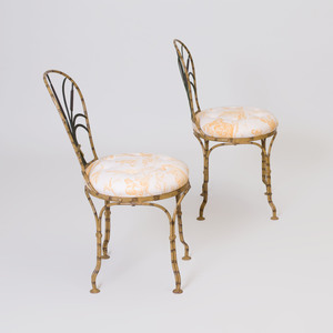 Pair of Painted Metal Faux Bamboo Chairs