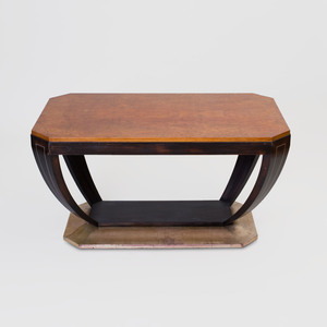 Art Deco Burlwood, Ebonized and Parcel Gilt Low Table