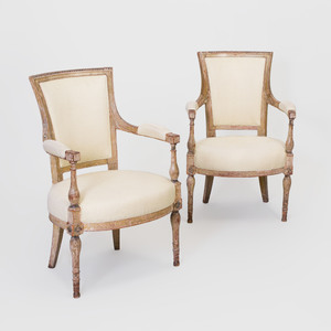 Pair of Directoire Carved and Painted Fauteuils en Cabriolet