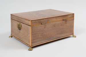 George III Inlaid Mahogany Work Box and A Victorian Turned Walnut Box and Cover