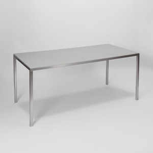 Stainless Steel and Leather Center Table