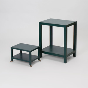 D.C. & Company Two-Tiered Leather Covered Side Table and a Telephone Table