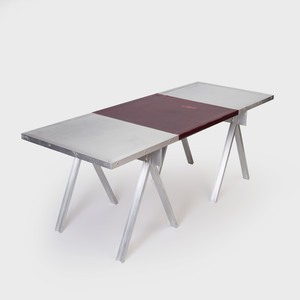 Aluminum and Leather Sawhorse Base Table