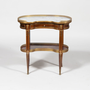 Louis XVI Style Gilt-Bronze-Mounted Mahogany Kidney-Shaped Table