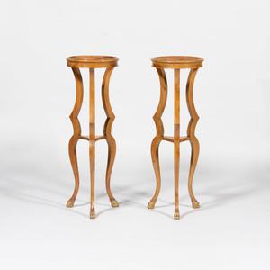Pair of Biedermeier Style Fruitwood and Parcel-Gilt Pedestals