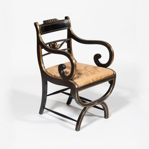Regency Ebonized and Parcel-Gilt Armchair