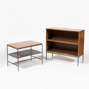Modern Metal and Wood Low Table and a Similar Shelf
