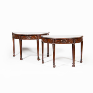 Pair of George III Style Carved Mahogany D-Shaped Consoles