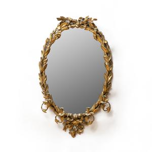 Continental Giltwood Oval Girandole Mirror