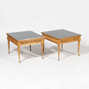 Pair of Modern Brass-Mounted Wood Low Tables