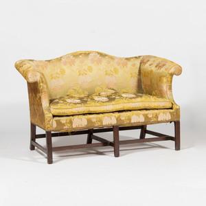 George III Style Upholstered Mahogany Loveseat