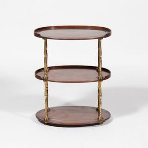 Edwardian Style Brass-Mounted Mahogany Three Tier Table