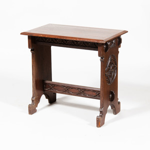 Neo-Gothic Carved Oak Side Table