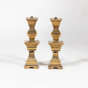 Pair of Chinese Inspired Brass Altar Sticks