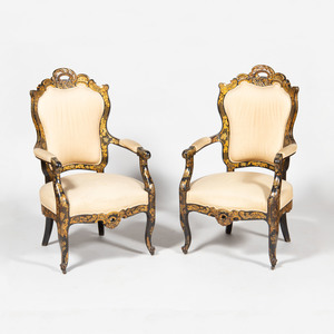 Pair of Victorian Black Lacquer and Parcel-Gilt Armchairs