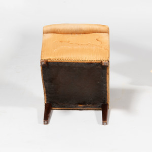 Victorian Style Upholstered Slipper Chair Together with an Upholstered Mahogany Gout Stool