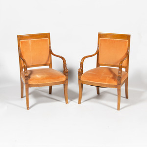 Pair of Empire Style Bleached Walnut Armchairs