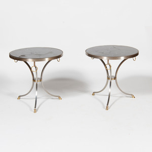 Pair of Modern Metal and Brass Side Tables
