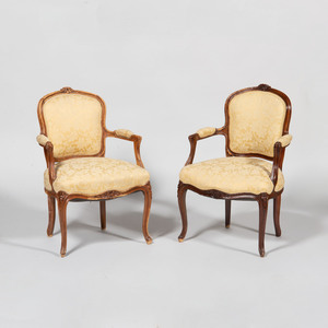 Pair of Louis XV Style Stained Beechwood Fauteuils en Cabriolet