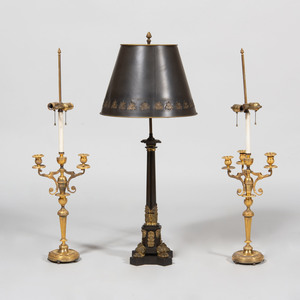 Pair of Empire Style Ormolu Candelabra Converted to Lamps