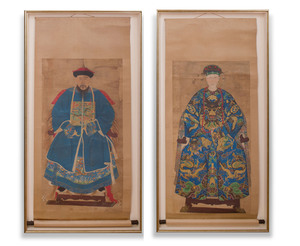Chinese School: Pair of Chinese Ancestor Portraits