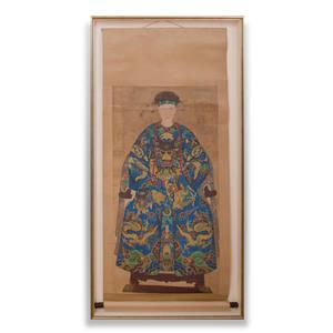 Chinese School: Pair of Chinese Ancestor Portraits