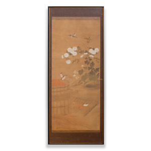 Chinese School: Blossoms and Birds with Grain