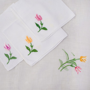 Linen Tablecloths and Set of Thirteen Napkins Embroidered with Tulips