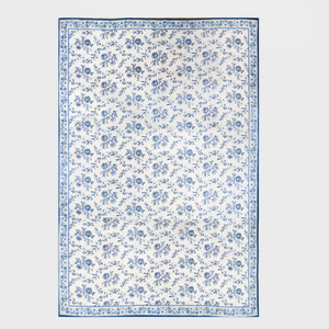 Stark Blue and White Needlework Floral Pattern Carpet