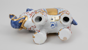 Richard Ginori Polychrome Porcelain Model of an Elephant and of a Rhino