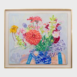 Nell Blaine (1922 - 1996): Carolyn's Bouquet in Italian Pitcher