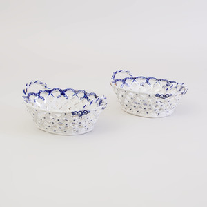 Pair Caughley Worcester Blue and White Baskets