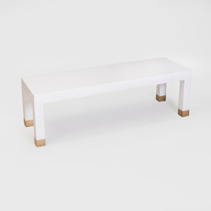 Karl Springer Brass-Mounted Textured Leather Low Table