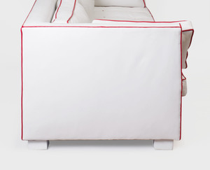 White Leather Sofa with Red Piping, Designed by Tom Britt
