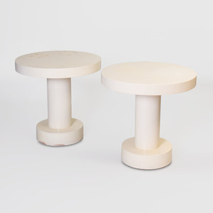 Pair of Modern Cream Painted End Tables