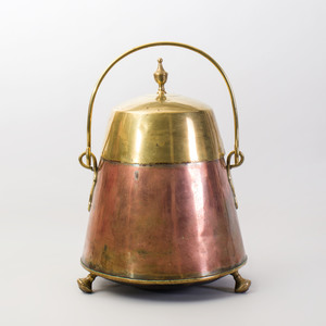 Continental Brass and Copper Pail and Cover on Tripod Feet