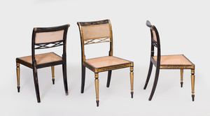 Set of Twelve Regency Painted, Parcel-Gilt and Caned Dining Chairs