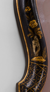 Pair of Queen Anne Style Black and Parcel-Gilt Lacquer Mirrors